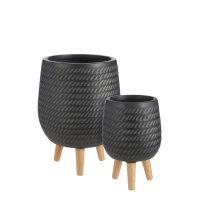 Corda pot op standaard zwart