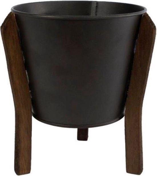 Bloempot 'Jan' L zwart metaal
