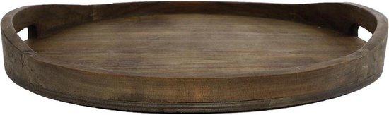"""Dienblad rond """"Denise"""" XL natural hout 40x40x4.5cm"""