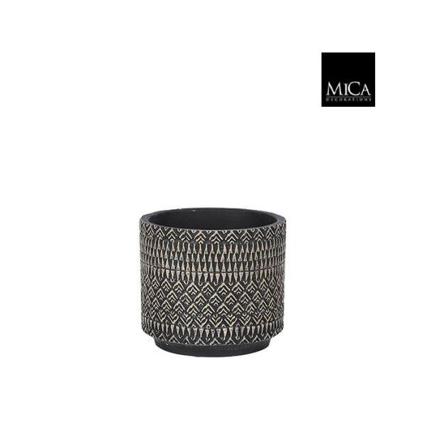 Kjeld pot rond zwart - h12,5xd14cm
