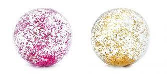 Strandbal transp. 2ass glitter
