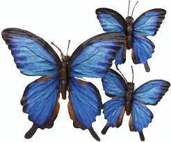 Vlinder 1big and 2 small blauw zijde 15x15x2.5cm