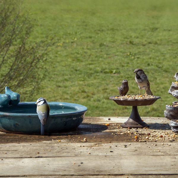 Vogelbad keramiek rond petrol